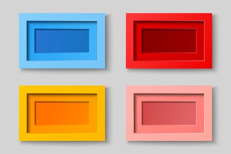 Realistic blank frames collection in red pink blue yellow colors on gray background. Isolated vector illustration