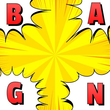 Comic explosive bright template with red Bang letters on white speech bubble in corners of yellow radial background. Vector illustration