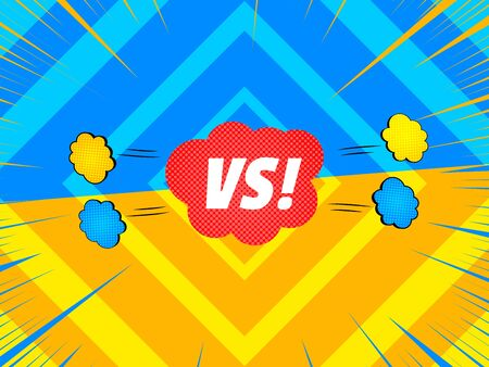 Comic duel explosive concept with red speech bubble blue and yellow rays clouds diamonds effects. Vector illustration Illusztráció