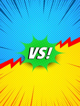 Colorful comic dynamic duel concept with white VS wording green speech bubble red lightnings blue and yellow halftone rays effects. Vector illustration Illusztráció