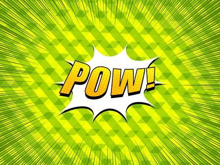 Comic explosive concept with Pow wording halftone effects speed rays on green stylish geometric background. Vector illustration