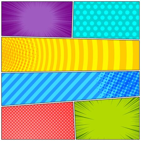 Comic colorful frames composition with rays dotted halftone striped circles effects. Vector illustration Illusztráció