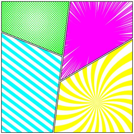 Comic vivid composition with stripes radial rays halftone effects. Vector illustration Illusztráció
