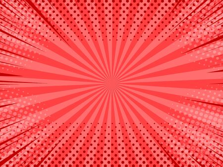 Comic abstract red background with radial rays and halftone effects. Vector illustration