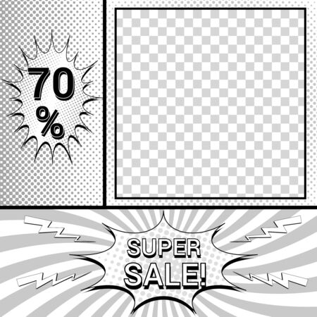 Comic monochrome advertising composition with promotional inscriptions humor effects and square shape with transparent background. Vector illustration
