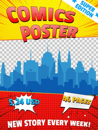 Comics poster colorful concept with various wordings speech bubbles cityscape transparent background rays and halftone effects. Vector illustration