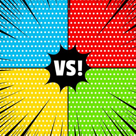 Comic rivalry concept with white dots and black rays on colorful frames. Vector illustration Illusztráció