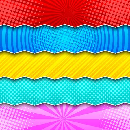 Comic colorful horizontal banners with radial circles halftone striped dotted humor effects and zigzag divided lines. Vector illustration Illusztráció