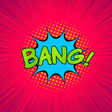 Comic explosive colorful concept with Bang wording speech bubble halftone and rays effects. Vector illustration