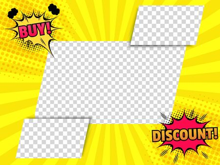 Comic advertising bright concept with speech bubbles promotional inscriptions rectangular shapes with transparent backgrounds yellow radial and halftone effects. Vector illustration Illusztráció