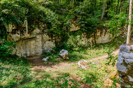 Crnomelj, Bela Krajina, Slovenia - August 19, 2017: main artifact in Mithraic temple (Mithraeum, 2nd century) situated in chestnut forest above Rozanc.