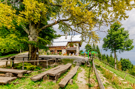 Mirna Gora, Bela Krajina, Slovenia - August  21, 2017: Mountain shelter on Mirna Gora mount.