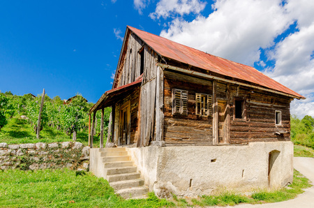 Crnomelj, Bela Krajina, Slovenia - August 19, 2017: Old rural house in vineyards nearby Crnomelj.