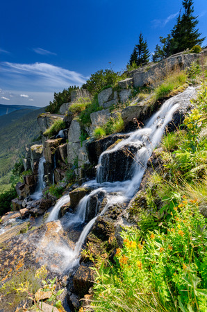 Pancava waterfall, Giant Mountains (czech: Krkonose, pol: Karkonosze), mountain range on Czech-Polish border, part of Sudetes mountain system, central Europe. Stockfoto