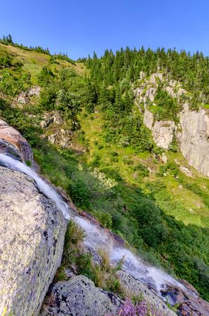 Labe (Elbe) upper waterfall, Giant Mountains (czech: Krkonose, pol: Karkonosze), mountain range on Czech-Polish border, part of Sudetes mountain system, central Europe.