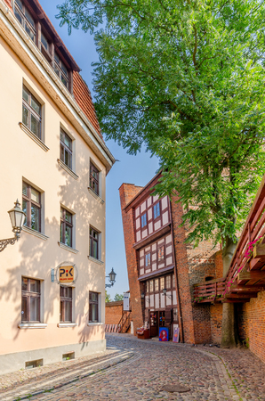 Torun, Kuyavian province, Poland - September 14, 2016: Leaning tower, old town district.