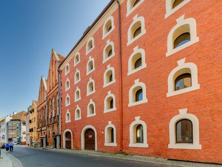 Torun, Kuyavian province, Poland - September 14, 2016: Old granary buildings on Rabianska Street.