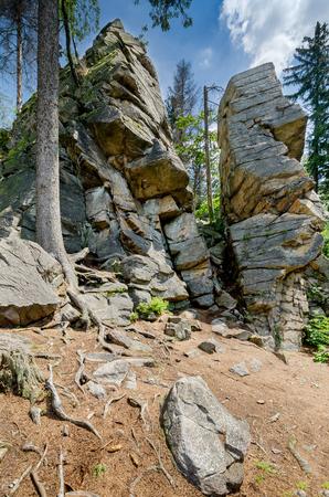 Rocky Gate, formation on Trojak mount in Golden Mountains near town of Ladek Zdroj (ger. Bad Landeck), Lower Silesian Voivodeship. Poland, Europe.
