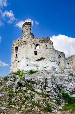 Ruins of medieval castle in Mirow, part of Trail of the Eagles Nests, Polish Jurassic Highland, Lesser Poland voivodeship, Europe Stock Photo