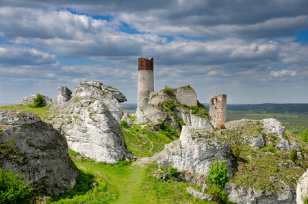 Ruins of castle Olsztyn, part of Trail of the Eagle's Nests medieval defence system, Polish Jurassic Highland, Lesser Poland voivodeship, Europe