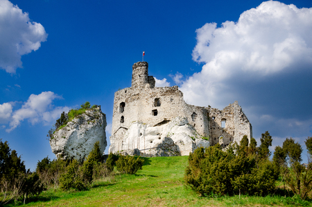 Ruins of medieval castle in Mirow, part of Trail of the Eagle's Nests, Polish Jurassic Highland, Lesser Poland voivodeship, Europe