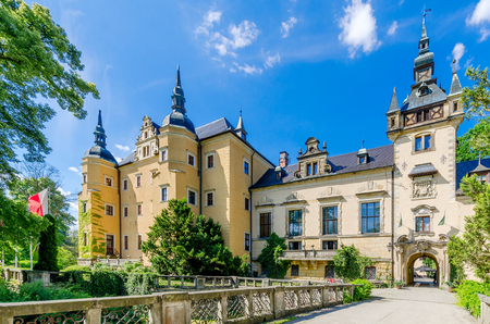 Kliczkow, Lower Silesia province, Poland - June 10, 2016: Hotel and conference center Kliczkow castle (ger. Schloss Klitschdorf).