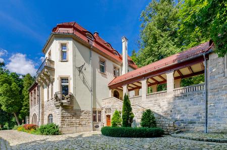 Ladek Zdroj, Lower Silesia province, Poland - July 17, 2016: 'ProHarmonia' Wellness Residence, former Villa Barbara, built 1906.