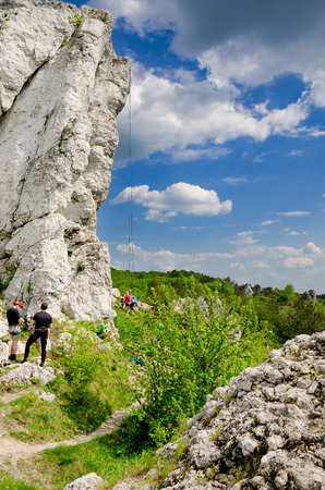 Rzedkowice, Silesia province, Poland - April  30, 2014: Three-toed crag, Rocky hills of Rzedkowice, popular climbing area, Polish Jurassic Highland.