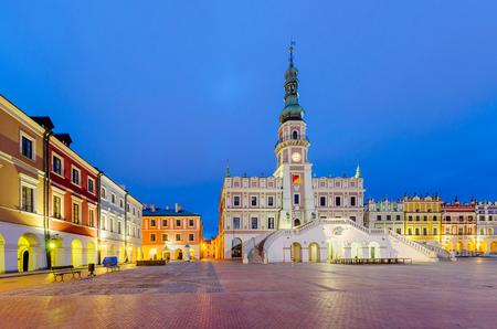 Zamosc city hall on Great Market Square, Lublin voivodship, Poland, Europe.