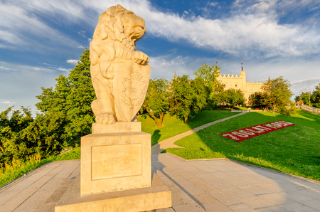 Statue of a lion, memorial to relationship with the city of Lwow, Royal castle in Lublin, Poland. 免版税图像 - 102244407