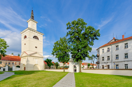 Pultusk, Masovia province, Poland - July 14, 2015.  Campanile of the basilica of the Annunciation to the Blessed Virgin Mary, Pultusk (ger. Ostenburg). Editorial