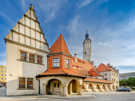 Lwowek Slaski (Lowenberg in Schlesien), Lower Silesia province, Poland - May 20, 2016. Town hall tower, ancient merchant guildhall and court of law building (14th - 15th cent.).