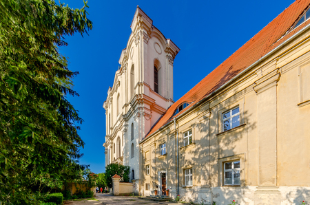 Wagrowiec (ger. Wongrowitz), Greater Poland province, Poland - July 7, 2017. Church of the p. Assumption of the Blessed Virgin Mary, former cystercian monastery.