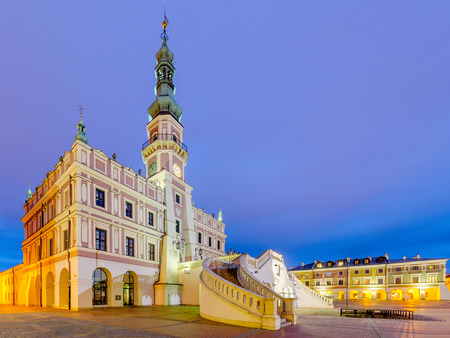 Zamosc, Lublin province, Poland - Mars 11, 2016. City hall on Great Market Square. Editorial