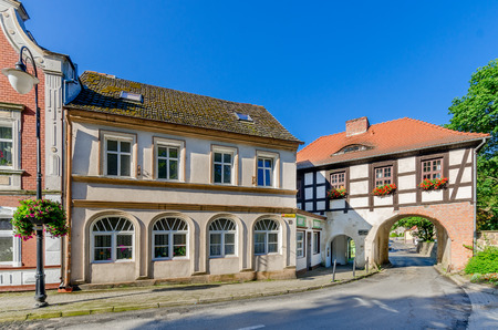 Lagow, Lubuszprovince, Poland - May 05, 2016. Townscape of Lagow with Marchian Gate, village (small town). Redactioneel