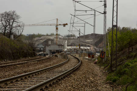 Construction of a tunnel and railroad tracks in Krakow.