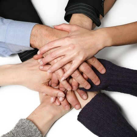 strong message: group hands