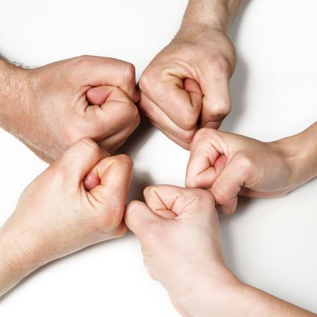 gripping hair: group hands