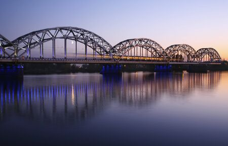 bridge over the river at evening photo