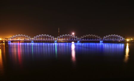 ruffling: bridge over the river at night Stock Photo