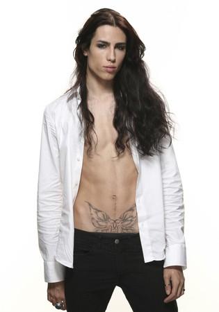 long hair man: androgynous men Stock Photo