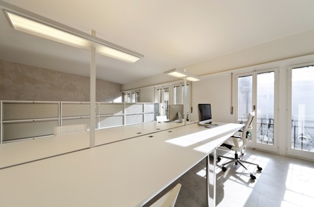 interior design office: modern office interior design, white furnishings Stock Photo