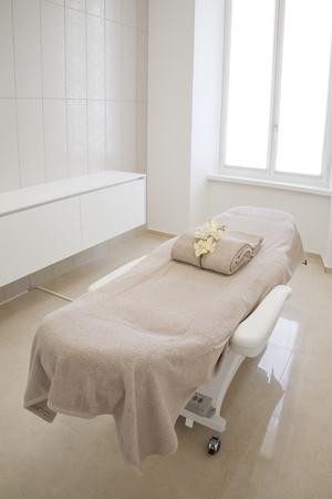 massage table: interior beauty center Stock Photo