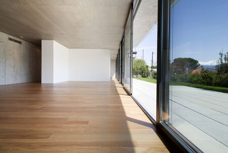 open windows: open space, new flat, modern apartment