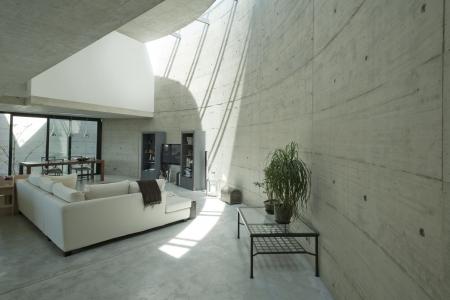 forniture: interior de la casa de hormig�n moderno, sala de estar Foto de archivo