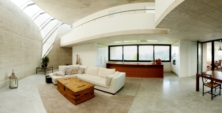 forniture: interior of modern concrete house, living room