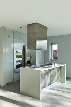kitchen island: beautiful modern house, view of new kitchen Stock Photo