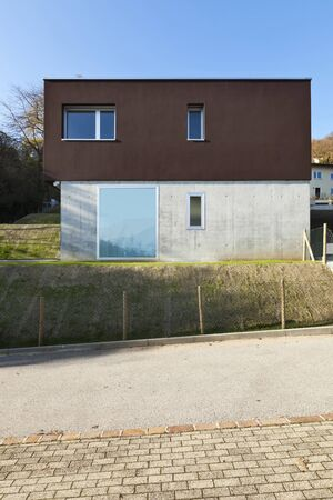 meadowland: view of beautiful modern house, front of facade