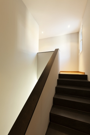 beautiful modern house, black staircase photo
