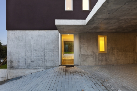 view of the beautiful modern house by night, entry Stock Photo - 18712957